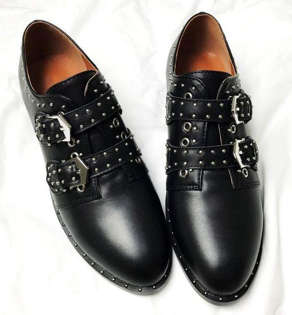550885ef1aad Acheter British Retro En Cuir Femme Noir Punk Boucles Chaussures Métal  Boucle De Ceinture Femme Chaussures En Cuir Véritable Photo Grande Taille  Fait Sur ...