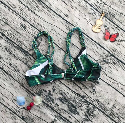 Womens Bikini Set Sexy Leaves For Rope Swimsuit Push-up Swimwear Female Brazilian Bikini set Bandeau Summer Beach Bathing Suit