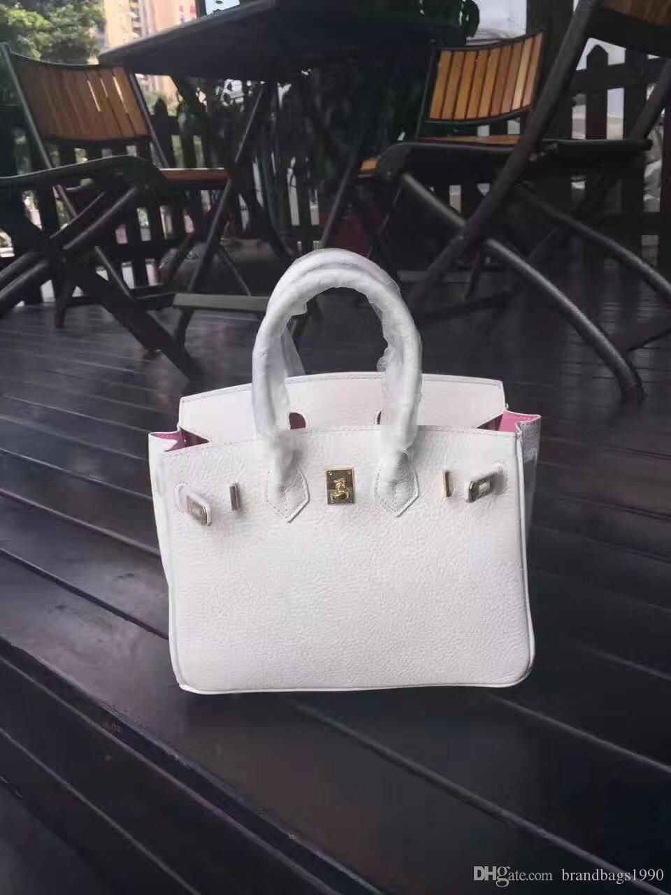 25cm 30cm 35CM Brand Totes White color with Pink lining Genuine leather Shoulder Bags lady Handbag High Quality Free Shipping