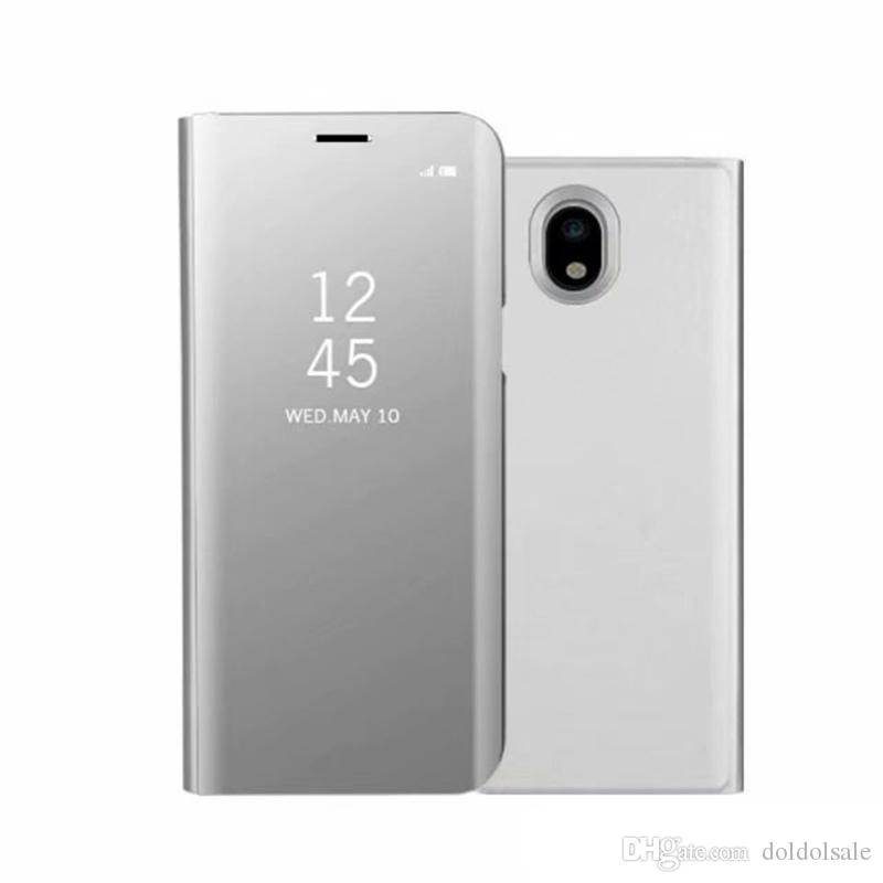 designer fashion 5cf7e 15e8d 50pcs Luxury Mirror Clear View Case for Samsung Galaxy J3 J5 J7 Pro J330  J530 J730 Phone Cover Plating Base Vertical Stand