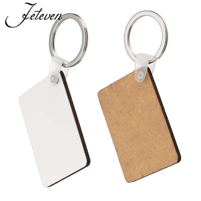 DIY 직사각형 흰색 비어있는 MDF 열쇠 고리 패션 프레스 전송 쥬얼리 2017에 대한 패션 OEM 승화 나무 열쇠 고리 새로운