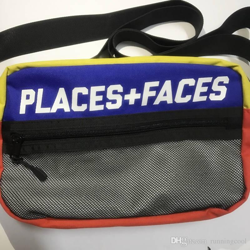 Новые места + Лица 3M Reflective скейтборды сумка P + F Сообщение Сумки Casual Мужчины и Женщины Хип-хоп Сумка Мини Мобильный телефон пачках