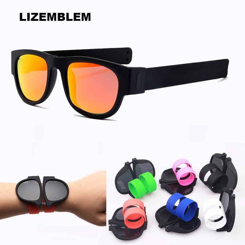 3944d2f6a Compre Alta Qualidade Patente Tapa Dobrável Polarizada Óculos De Sol  Protable Dobrável Suporte Esportivo Óculos De Sol Aplauso Anel Pulseira  Homens Mulheres ...