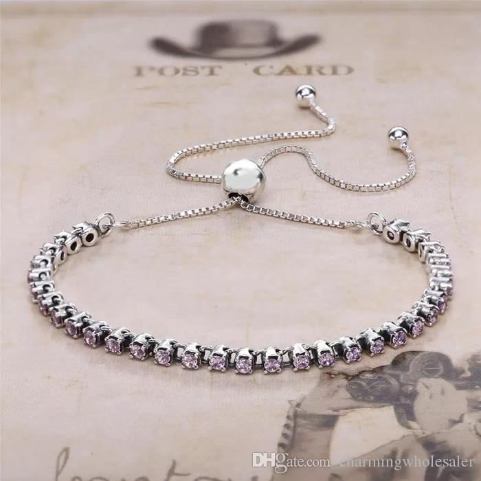 767bb5200 original bracelet S925 sterling silver fits for pandora style charms Pink  Sparkling Strand Bracelet H8 ...