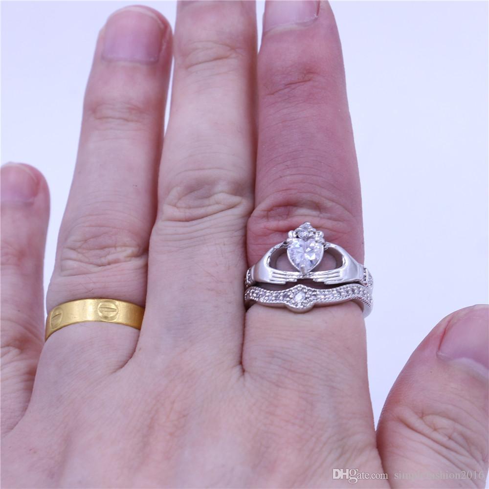 Anillo de pareja claddagh Diamonique Jewelry Juego de anillos de boda para mujer heart 5A Cz Anillo de fiesta con relleno de oro blanco