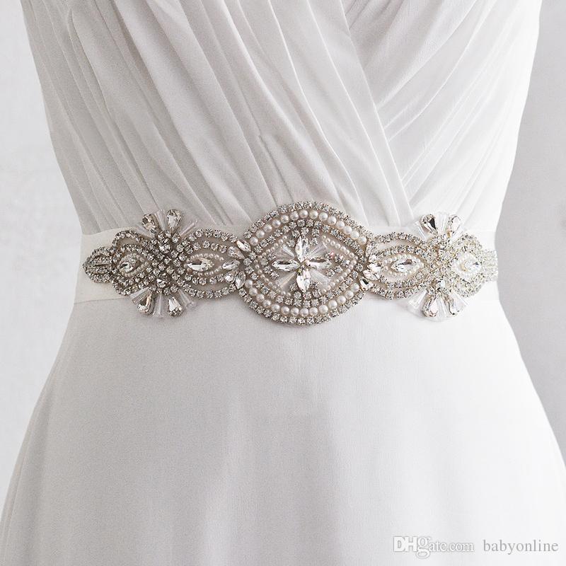 compre 2018 cinturones de cristal para vestidos de novia cinturones