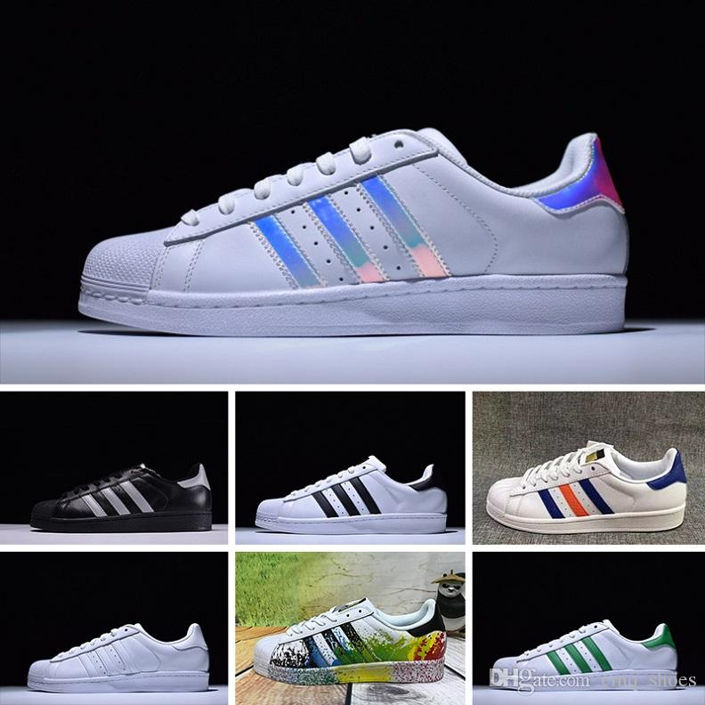 buy cheap 18cbd 65c3c Compre Adidas Superstar 80s Sup Original Holograma Blanco Iridiscente  Junior Gold Sup Sne Originals Super Star Mujer Hombre Deporte Zapatillas De  Running ...