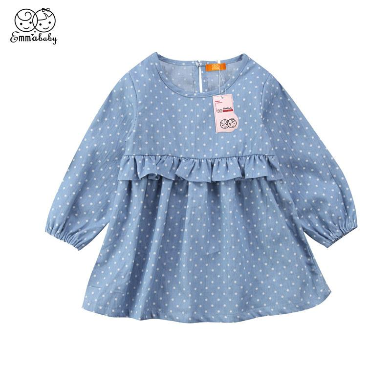 fc584fd2a 2019 Lovely Toddler Kids Newborn Baby Girls Dress Denim Dot Printed Clothes  Ruffle Princess Party Tulle Long Sleeve Dresses From Callshe, $21.15 |  DHgate.