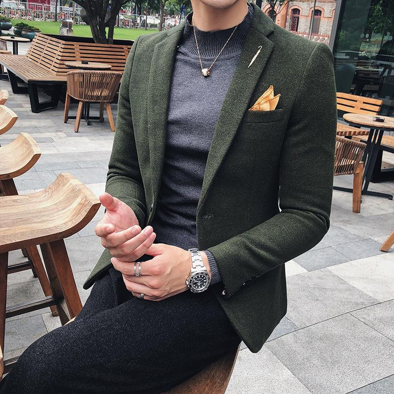 0b0470a1b5e 2019 2018 Autumn Winter Men Fashion Business Casual Slim Solid Color Woolen  Western Style Suit Long Sleeve Coat Outwear Homme M 2XL From Meicloth