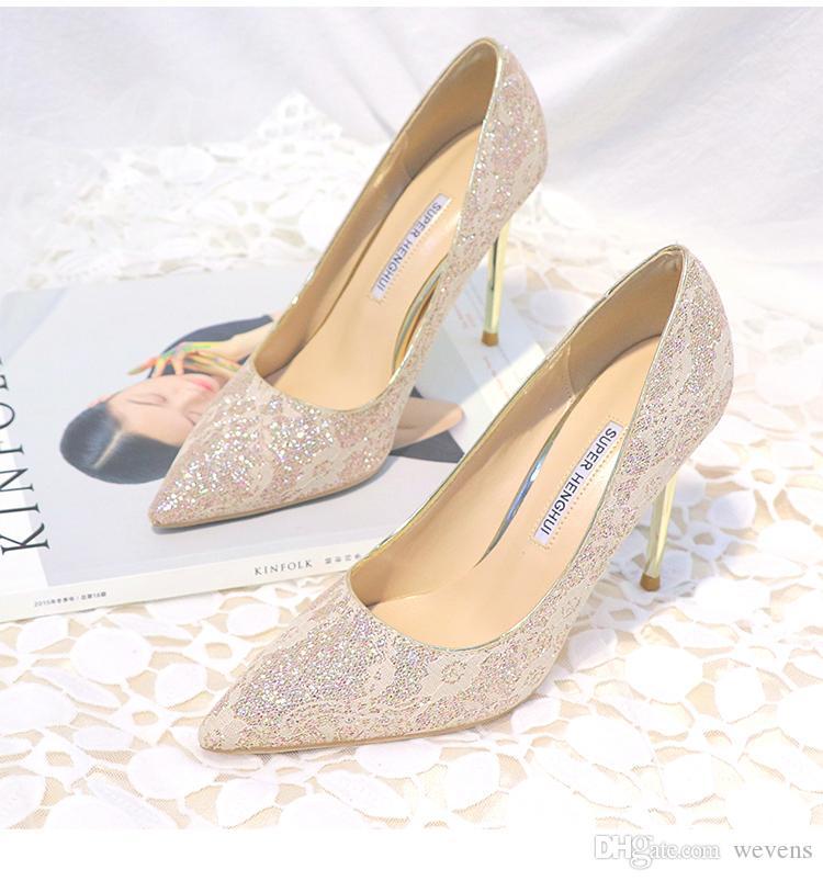 compre zapatos de novia de encaje brillante para novia con