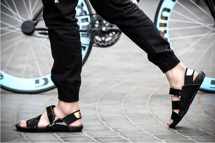 9dd58be855 New Fashion 2017 summer male sandals men gold leather shoes open toe  sandals slippers fashion casual beach gladiator sandals