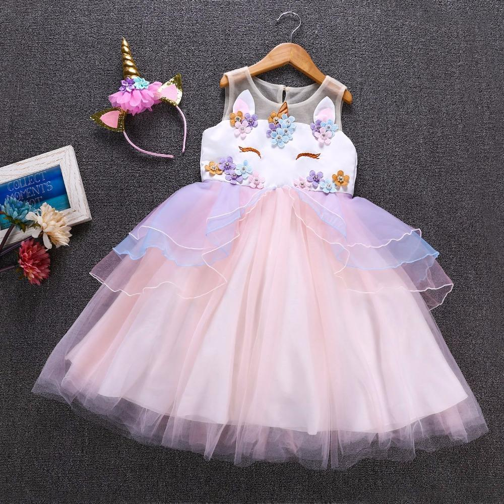 bcaf7eb2d663 Fancy Kids Unicorn Tulle Dress For Girls Embroidery Ball Gown Baby Flower  Girl Princess Dresses Cosplay Party Costumes Unicornio 4 Person Halloween  Costumes ...