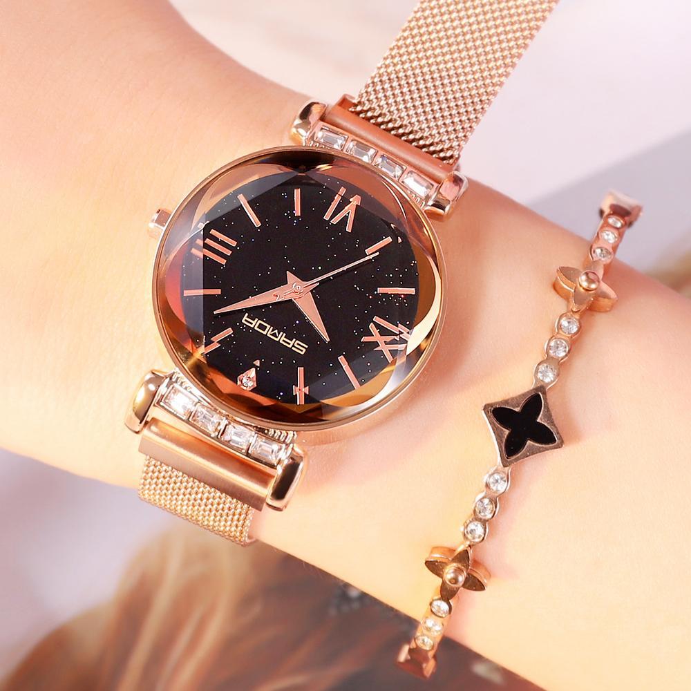 bc9c4d75ebe2 Compre 2018 Oro Rosa Rhinestones Pulsera Mujeres Relojes Lujo Acero  Inoxidable Reloj Cristal Romano Reloj De Dama Mujer Montre Femme C18111301  A  42.21 Del ...