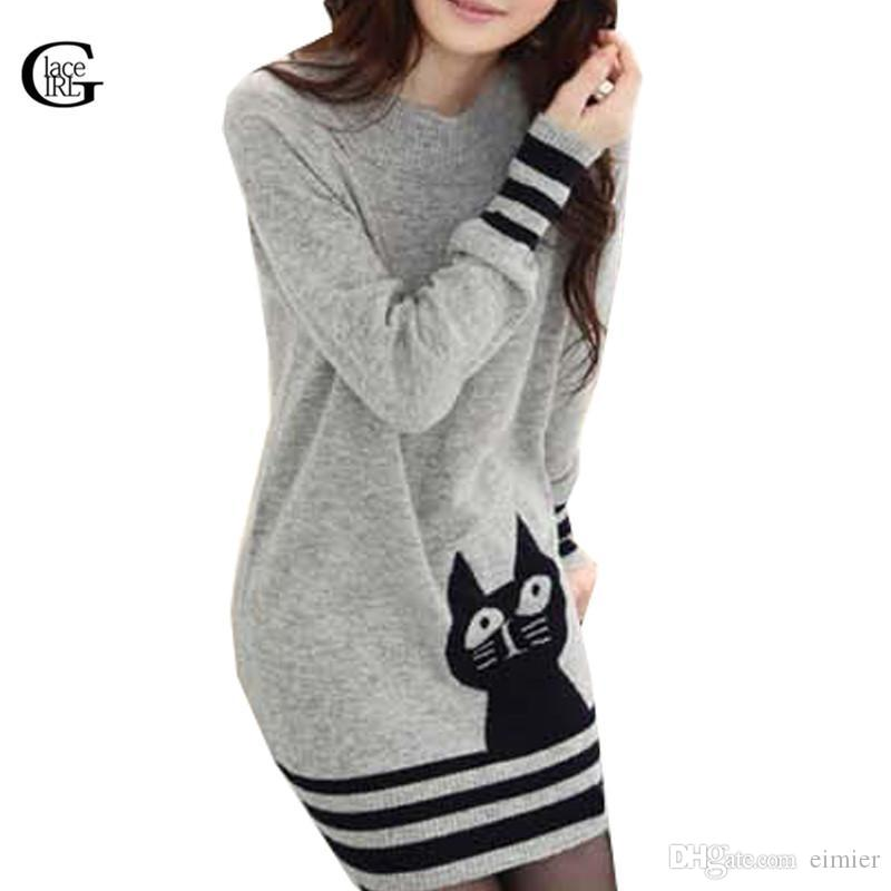 0d942be62f24c 2019 Wholesale Lace Girl Cute Cat Pattern Long Style Women Knitwears 2017  New Autumn Winter Casual Gray Women Sweaters Knitted Pullovers From Eimier