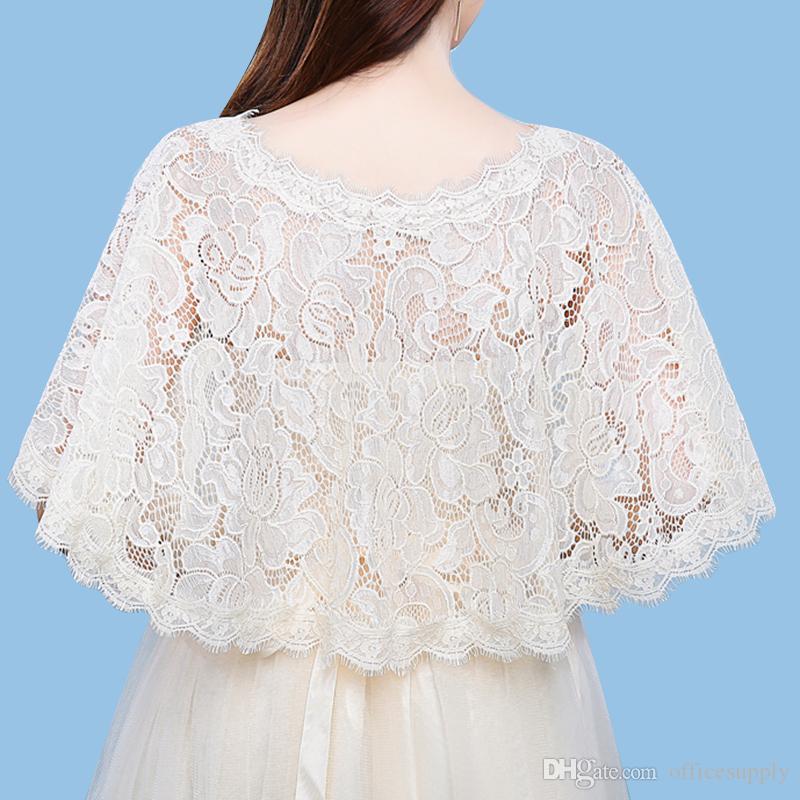 Wedding Bolero Jacket Lace Ivory Boat-Neck Custom Made Sheer Wedding Wraps Shrugs Buttons Back Bridal Stole