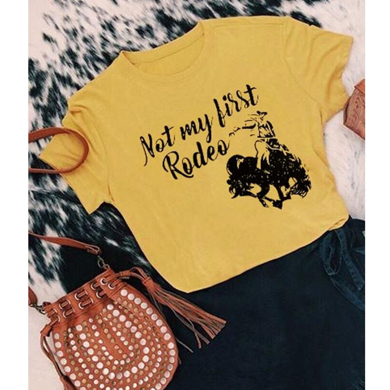 d3a70acf 2018 not my first rodeo cowboy bull t-shirts tee vintage top womens sexy  female tshirt plus size tops sexy tee shirt