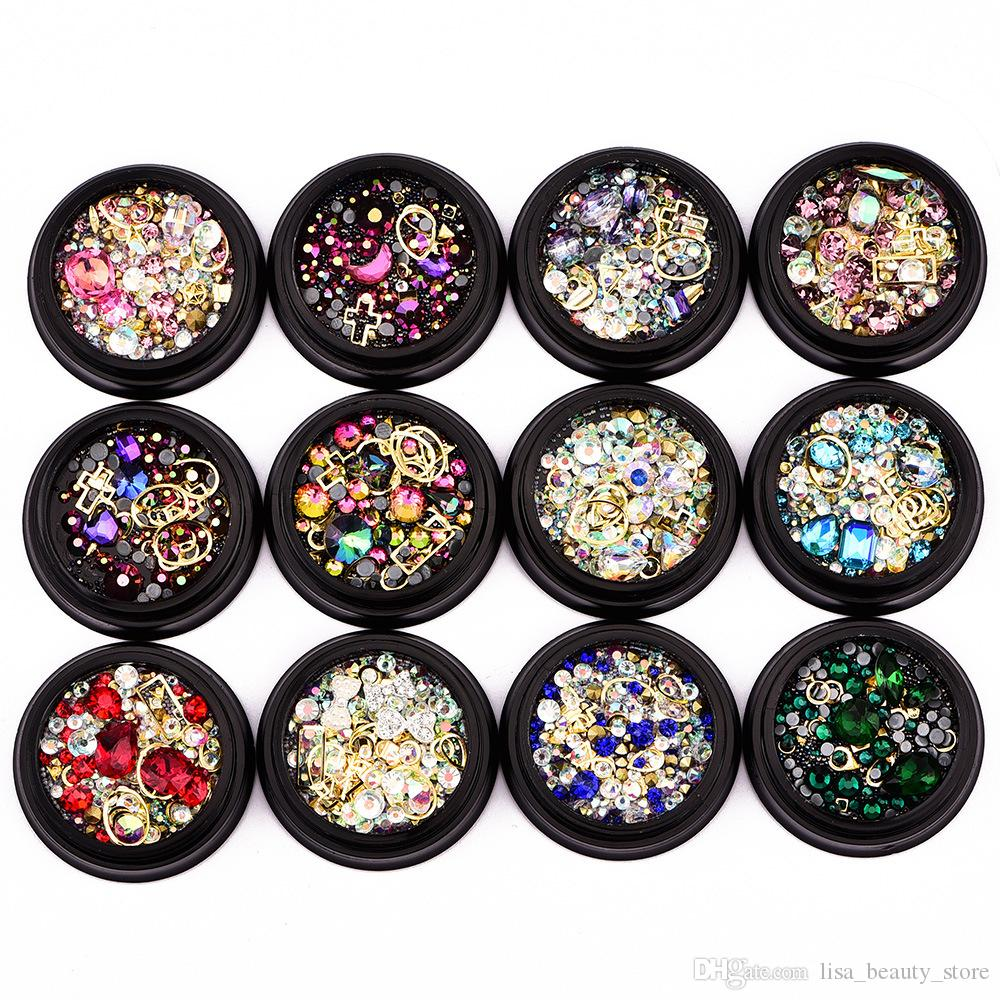 Colorful Crystal Nail Rhinestones 3D Nail Art Decoration Manicure Jewelry Copper Beads Glitter Nail Accessories Rivet