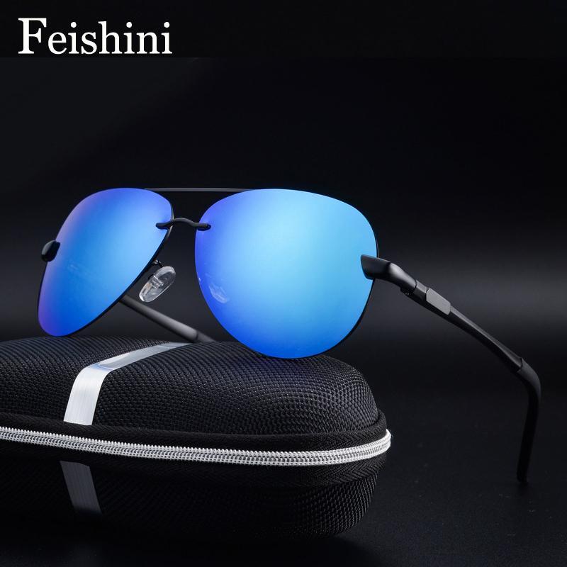 9d51821763 Compre FEISHINI 0761 Protección UV Mujer Gafas De Sol Aviación Lente  Polaroid Claro Conductor Gafas De Sol Polarizadas De Aluminio Hombres Azul  Espejo ...
