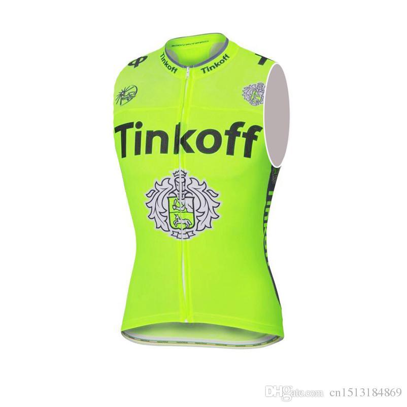 UCI 2018 Pro Team Tinkoff Sleeveless Cycling Jersey Road Bike Shirt ... 70bea58aa