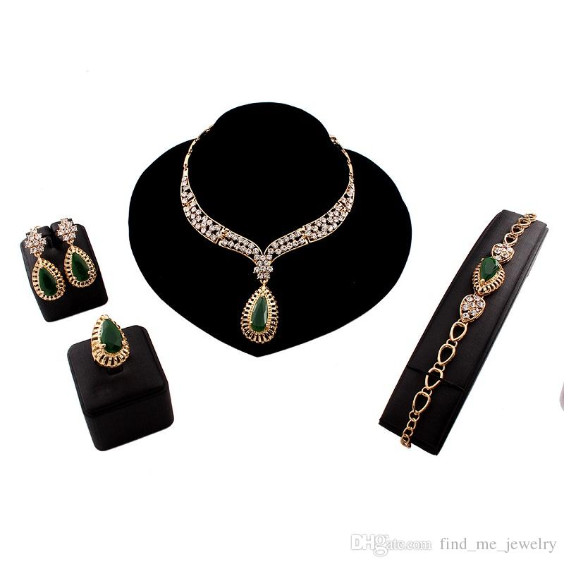 Fashion Green Resin Crystal Choker Necklace Earrings and Bracelet Ring Statement Ethnic Punk Gold Color Party Gift Jewelry Sets Women 2018