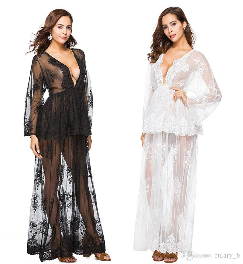 e5dbd3f2f5 2019 2018 New Women Beach Boho Summer Dress Floral Lace Embroidered Crochet Bikini  Cover Up Sexy Swimsuit Cover Up Maxi Lace Beachwear From Fulary_b, ...