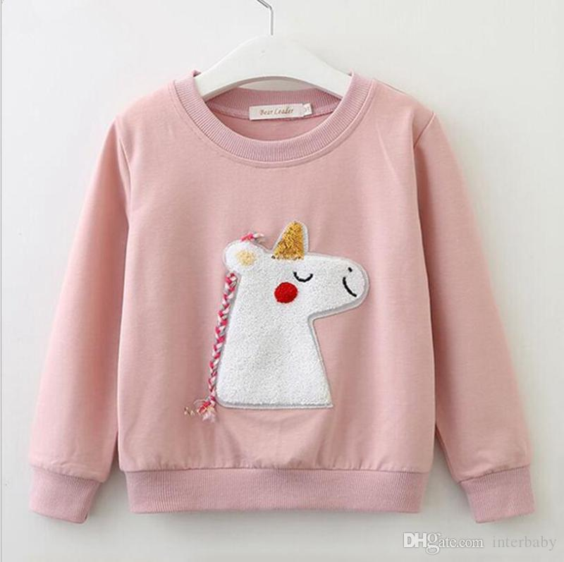 523f0406594 2019 Baby Hoodies Kids Unicorn T Shirts Girls Autumn Long Sleeve Shirt Boys  Casual Top Pullover Kids Designer Clothes Hoodie YL624 From Interbaby