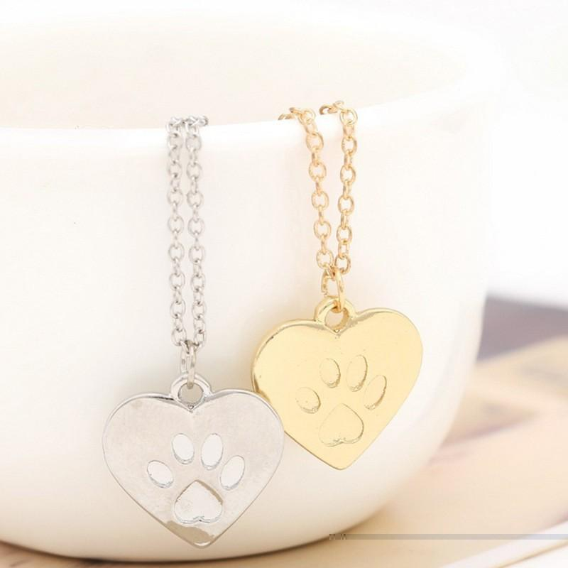 2017 Fashion Cute Heart Paw Claw Print Pendant Necklace for women femme Trendy best christmas gift jewelry for friend