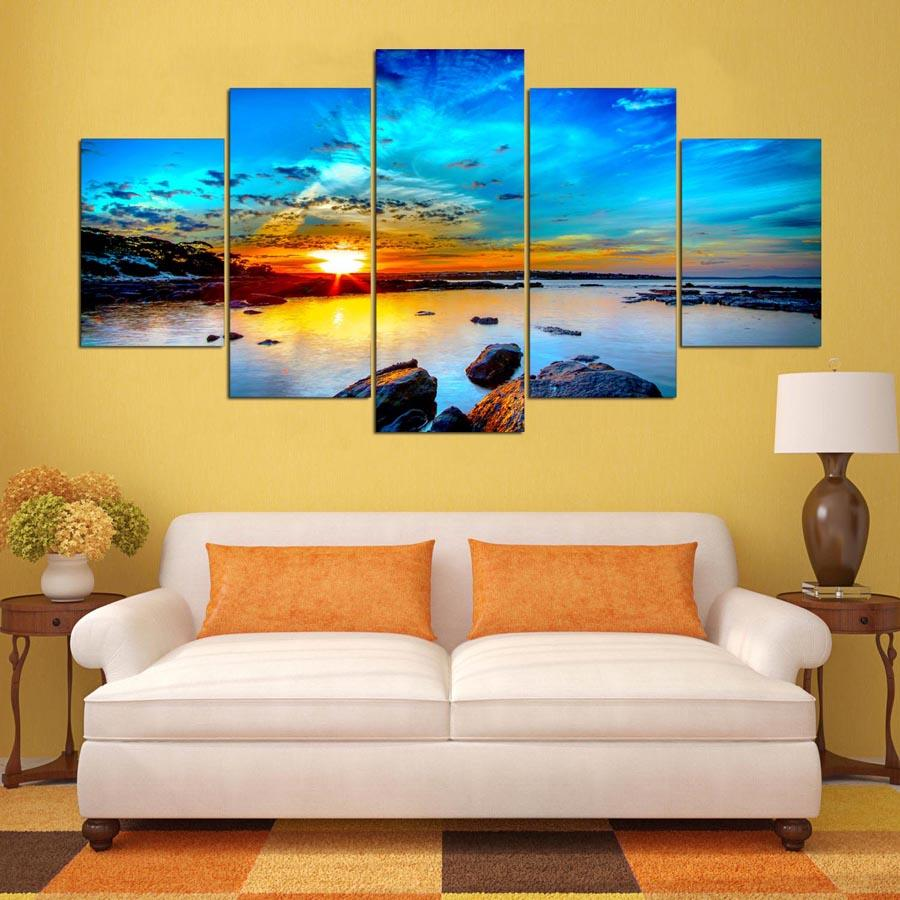 Wall Pictures Printing Painting Modular Poster 5 Panel Sunrise Landscape Canvas Frame Art For Living Room Home Decoration Artwork