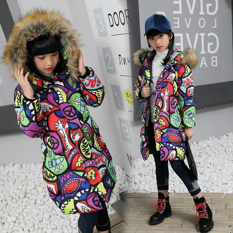 4fa9271e7d21 2018 Winter Warm Jackets Girls Kids Fashion Floral Printed Jacket ...