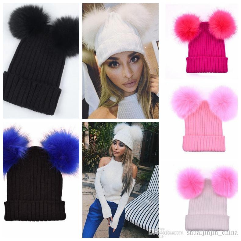 d784d388ec2 Women Pompom Hat Women Winter Caps Knitted Wool Hat Two Pom Poms Beanies  Winter Adult Pom Pom Winter Wool Knit Hat KKA4062 Straw Hats Crochet Hat  From ...