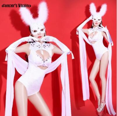 fcaa3ba8 2019 Sparkly Rabbit Costume Crystals Set Sexy Female Costumes Nightclub Bar  DJ Singer DS Costume Dancer Jazz Performance Stage Outfit From Sikaku, ...