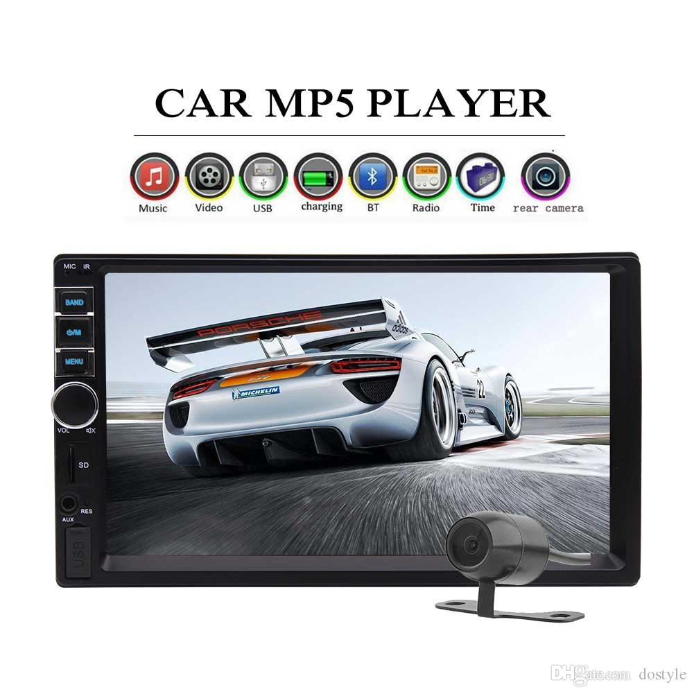 Bluetooth 7 2 Din Car Stereo In-Dash HeadUnit Car Video MP5 MP3 Player  Radio Car Audio Receiver Aux Input TF card FM Backup Camera