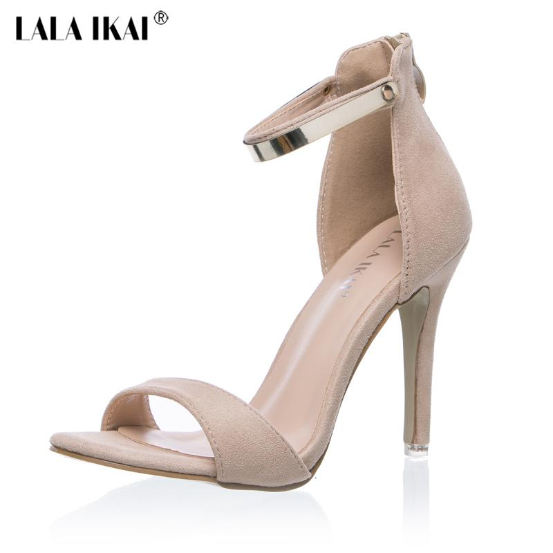 0e14cd4e20 2017 Concise Nude Suede High Heels Sandals Women Sequined Ankle Strap  Summer Dress Shoes Woman Open Toe Sandals XWF0648 5 Sandals For Women Knee  High ...