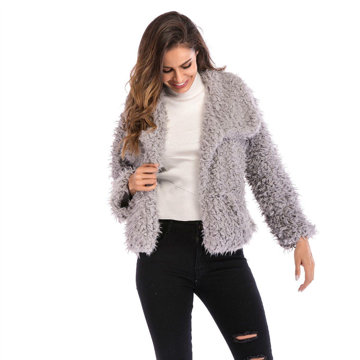 2b9ed67a47d 2018 Winter Lapel Furry Coat Solid Color Women Warm Fashion Jacket ...