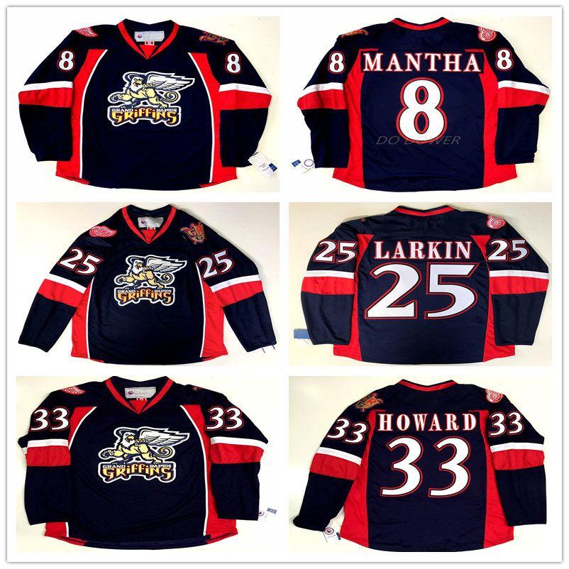 0830f28871b 2019 GRAND RAPIDS GRIFFINS  33 JIMMY HOWARD  25 DYLAN LARKIN  8 ANTHONY  MANTHA Navy Blue Retro Ice Hockey Jersey Mens Custom Name Jerseys From  Yufan4