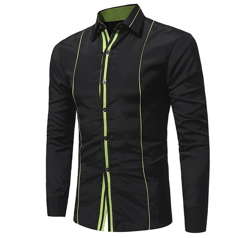 cheaper 56f50 5445a Großhandel Frühling Herbst Outfit Rand Klammer Hemd Jacke Basis Geschäft  Streifen Männer Langarm-Shirt Freizeit Männer Kleid