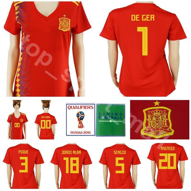 b0c2063b21e85 2019 2018 World Cup Spain Women Jersey Soccer 3 PIQUE 18 JORDI ALBA 17 IAGO  ASPAS Football Shirt Kits Lady National Team Home 20 ASENSIO 1 DE GER From  ...