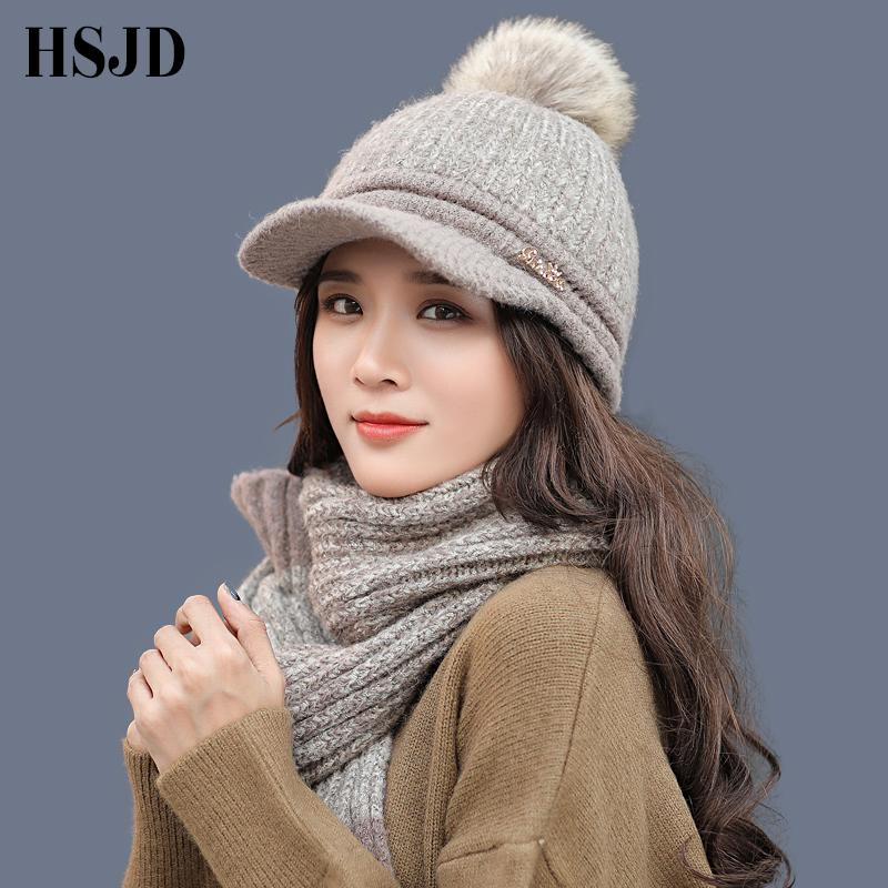 621d37a9ff7 Fashion Casual Women Winter Hats Scarf Set Two Color Knitted Wool Baseball  Caps Girls Scarf Hat With Pompom Beanies Female Cap Sun Hat Hats For Men  From ...