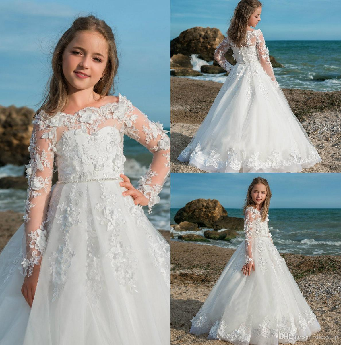 Beach Flower Girls Dresses For Weddings 2018 3d Lace Long Sleeve ...