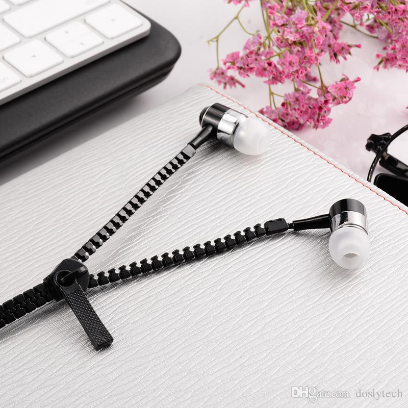earphone with mic 3.5mm In-Ear Stereo Earbuds with Mic Zipper Earphone For Phone