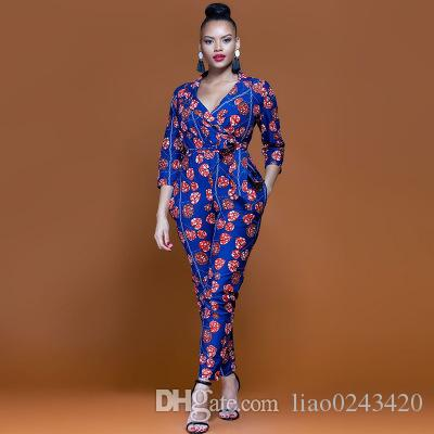 1fd863287ce 2019 Free Ship Women Fashion National African Print Jumpsuit Romper High  Waisted Long Playsuit Clubwear Dashiki Outfit XXXL Plus From Liao0243420