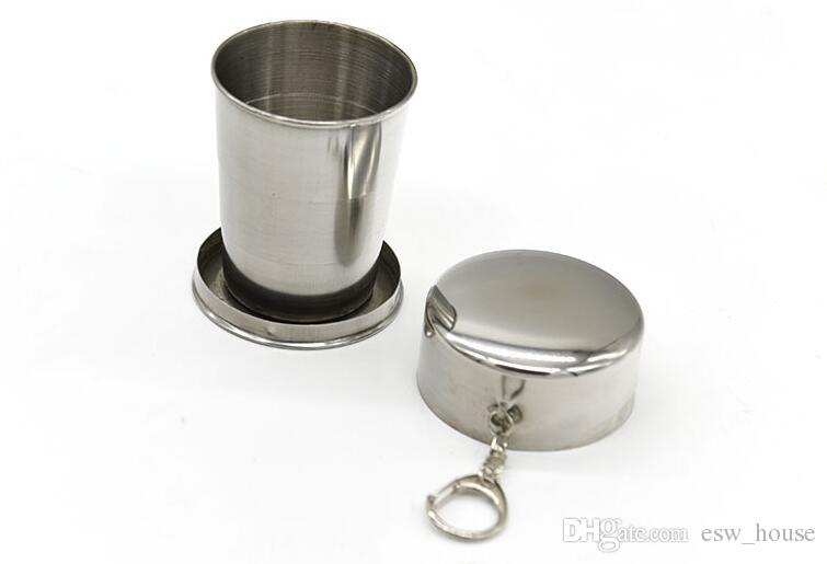 Portable Stainless Steel Folding Drinking Wine Cup Mug for Outdoor Travel Picnic Key Chain Collapsible Telescopic Cup 75ml CCA9215 free ship
