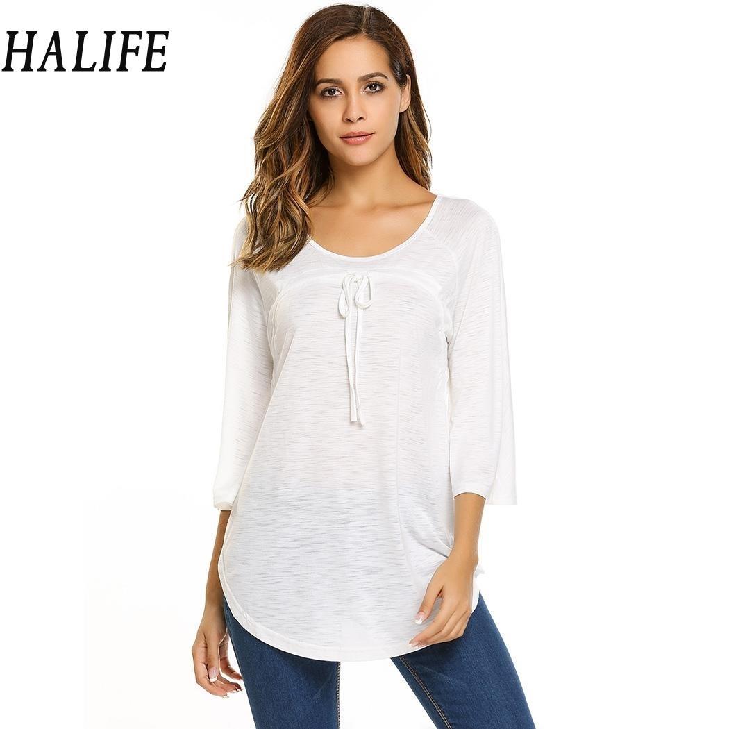 0acae48f0e554 HALIFE New Arrivel Plus Size Women Clothing Tshirt Fashion Tunic Tops O  Neck 3 4 Sleeve Loose T Shirt Haut Femme S30 Best Tee Shirt Sites Online  Funky T ...