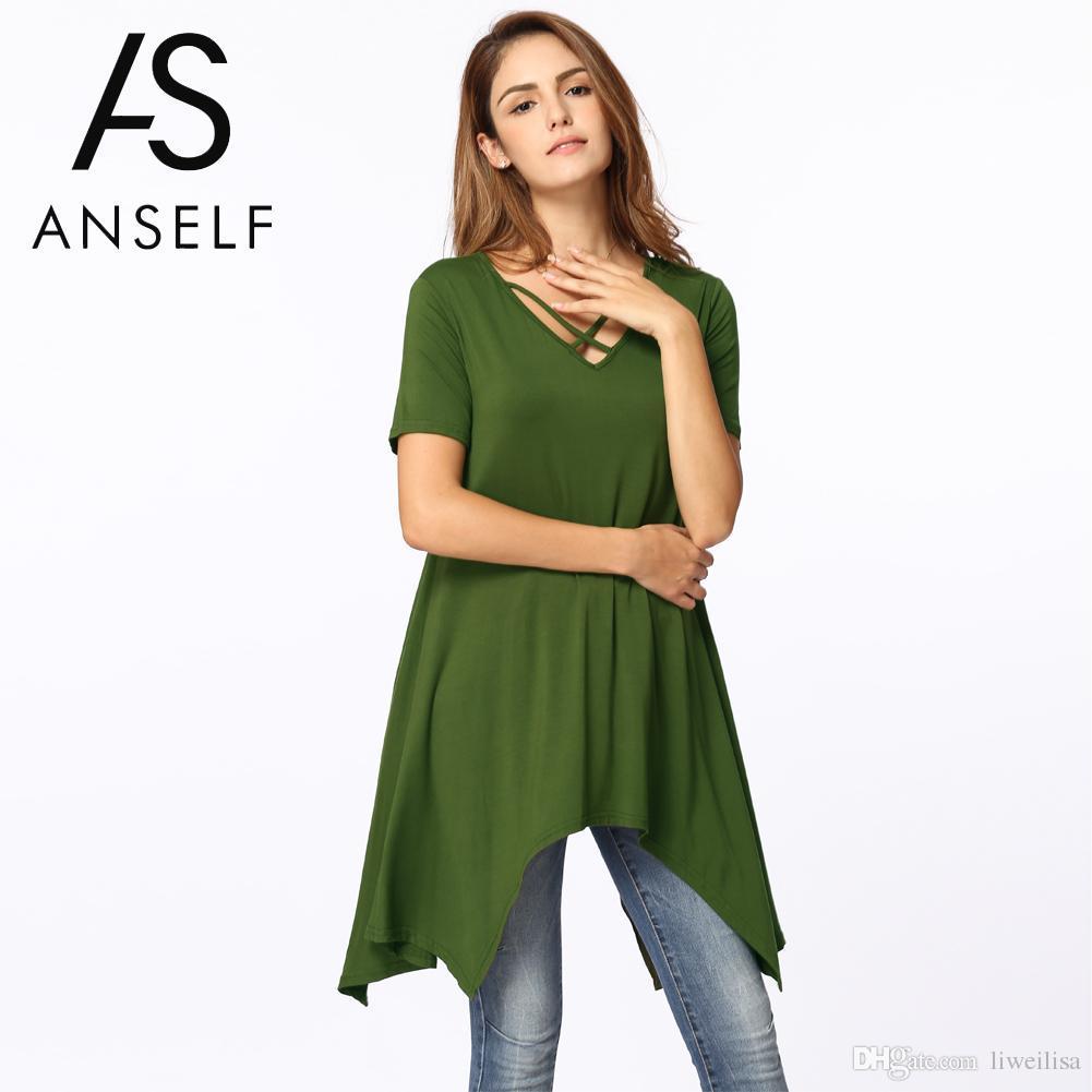 Coreana atractiva del verano más el tamaño XXXL mujeres de la camiseta asimétrica de la camiseta con cuello en V ocasionales flojas de la túnica Básico Superior Femenina Señora camiseta