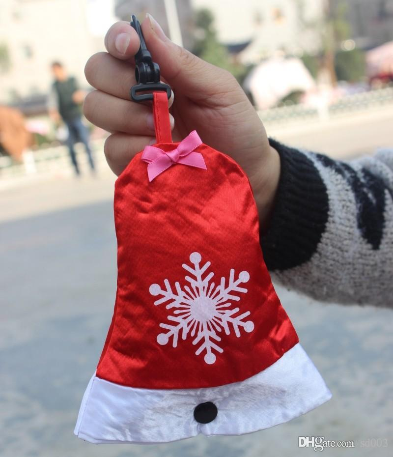 Novel Small Christmas Shopping Bags Easy To Carry Foldable Tote Pouch Hat Bells Gloves Sock Handbag Small 2 9bx cc