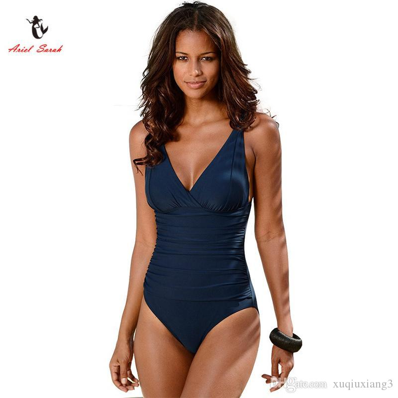 66a36e3989488 Best Ariel Sarah Brand 2017 Hot Sales One Piece Swimsuit Swimwear Women  Plus Size Swimwear Solid Swimsuit Sexy Monokini BikinisQ045 Under  16.96