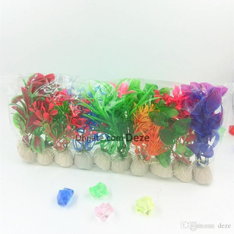 / plantas pequeno Multri-color artificial aquário plantas aquáticas Paisagem Ornamento plástico decoração grama planta tanque de peixes Decor