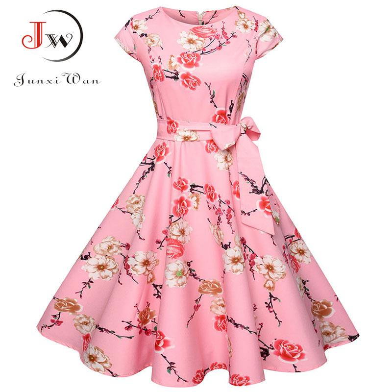 a7844fbbdbf0 Women Summer Floral Dress 2018 50s Vintage Casual Elegant Print O Neck Party  Work Office Dress Retro Rockabilly Vestidos D1891303 Cocktail Dresses  Teenagers ...