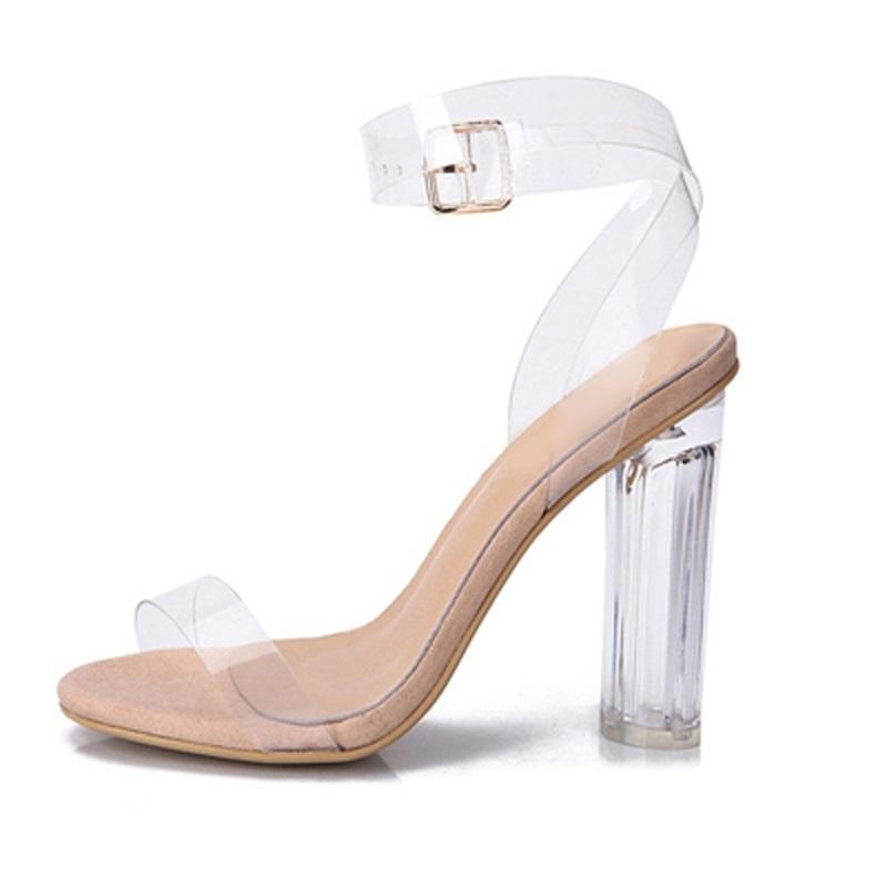 Cut Pvc Elegant 2018 Ship Summer Strap Dress Chunky Transparent Heels Free Buckle Sandals Out Shoes Women Ankle cARq354jL