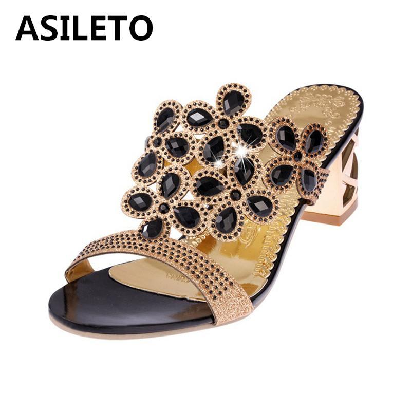 a0d0c4990a8b04 Wholesale Rhinestone Lady Party Luxury Fashion Crystal High Heel Sandals  Women Top Sale Women Shoes Slippers Slides On SandalsT038 Green Shoes Shoe  Shop ...